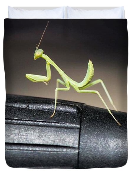 Praying Mantis On Stage On Microphone Duvet Cover
