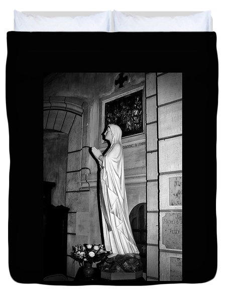 Duvet Cover featuring the photograph Praying Nun 2 by Elf Evans