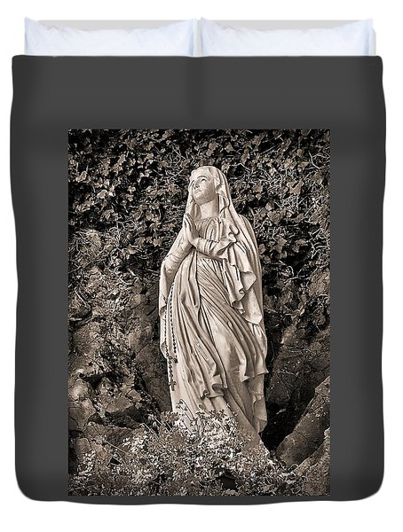 Duvet Cover featuring the photograph Praying Nun by Elf Evans