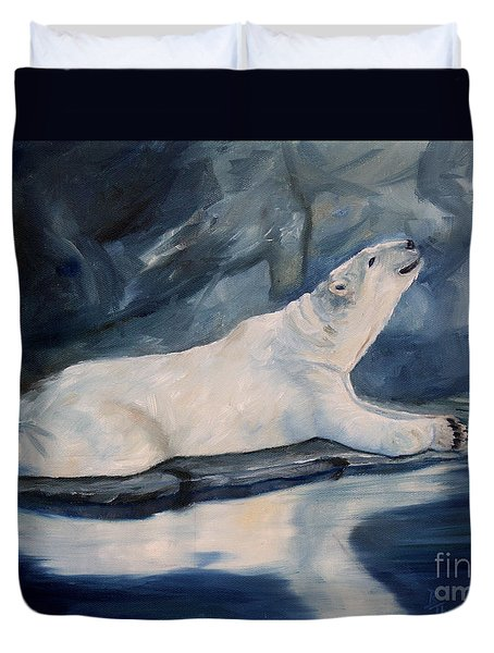 Praying Polar Bear Original Oil Painting Duvet Cover by Brenda Thour