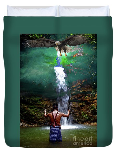 Duvet Cover featuring the photograph Praying To The Spirits by Al Bourassa