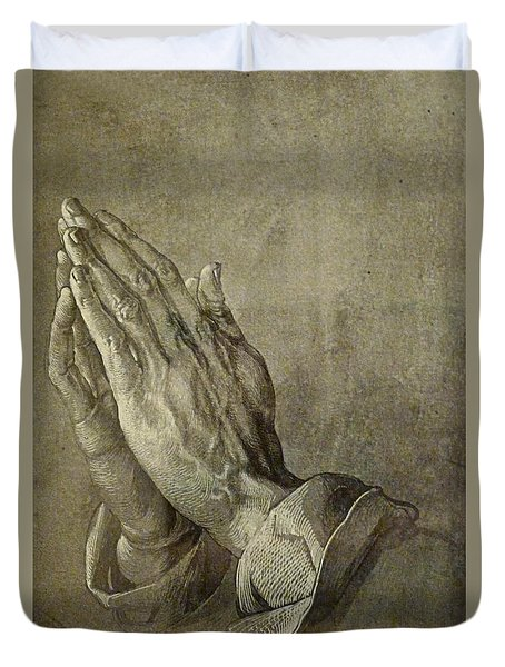 Praying Hands Duvet Cover by Troy Caperton