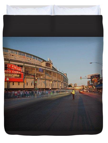 Pre-game Cubs Traffic Duvet Cover by Sven Brogren