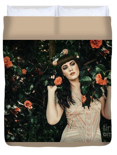 Pre-raphaelite Style Portrait Duvet Cover