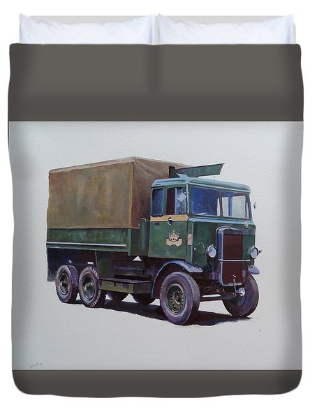 Duvet Cover featuring the painting Pre-war Leyland Wrecker. by Mike Jeffries