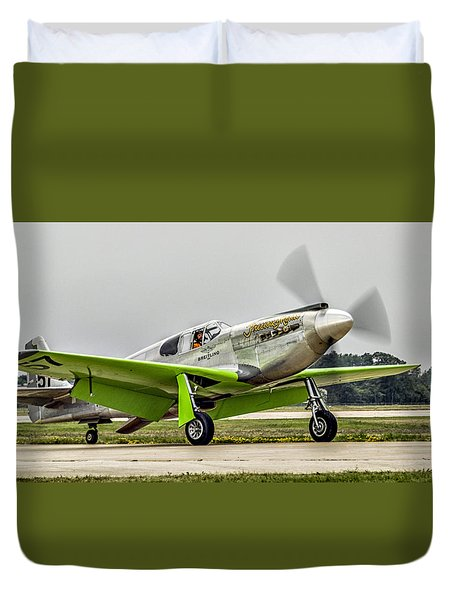 Duvet Cover featuring the photograph Precious Metal Final Flight by Alan Toepfer