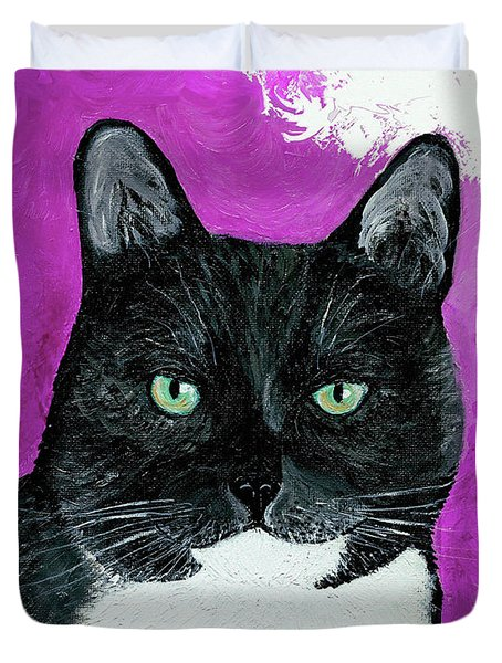 Duvet Cover featuring the painting Precious The Kitty by Ania M Milo