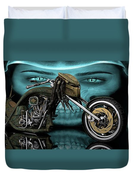 Duvet Cover featuring the digital art Predator Chopper by Louis Ferreira