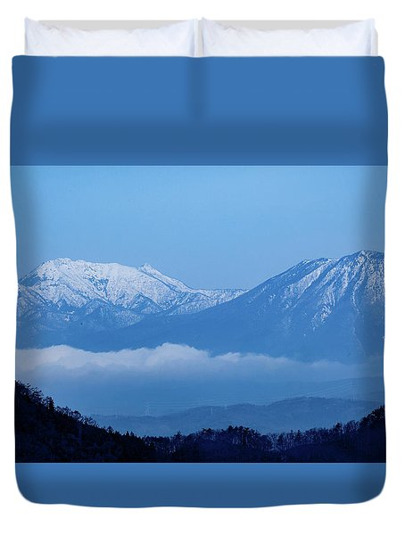 Duvet Cover featuring the photograph Predawn Peaks by Rikk Flohr