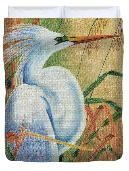 Duvet Cover featuring the drawing Preening Egret by Peter Piatt
