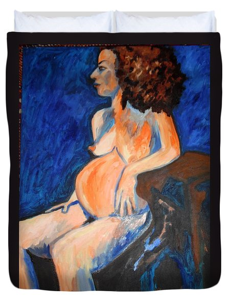 Duvet Cover featuring the painting Pregnant Woman In Blue by Esther Newman-Cohen