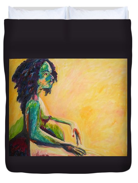 Duvet Cover featuring the painting Pregnant Woman In Yellow by Esther Newman-Cohen