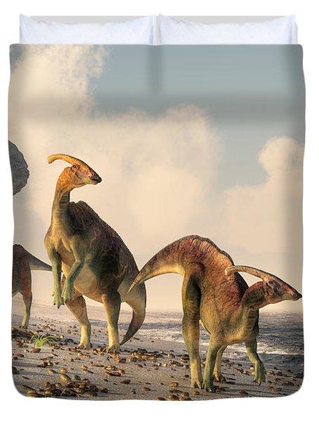Prehistoric Beachcombers Duvet Cover by Daniel Eskridge