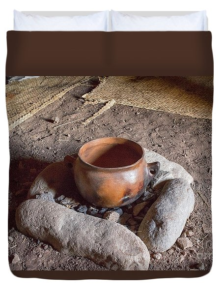 Duvet Cover featuring the photograph Prehistoric Cooking  by Patricia Hofmeester