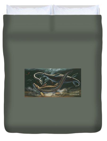 Prehistoric Marine Animals, Underwater View Duvet Cover