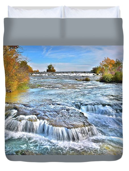 Duvet Cover featuring the photograph Preparing For The Big Fall by Frozen in Time Fine Art Photography