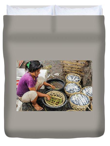 Preparing Pindang Tongkol Duvet Cover by Werner Padarin