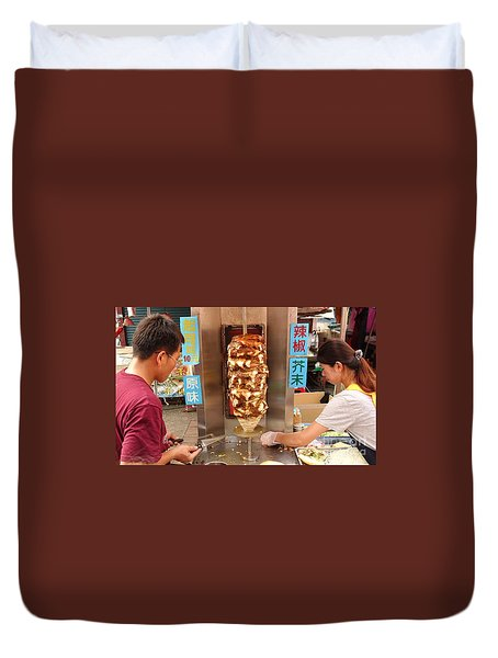 Duvet Cover featuring the photograph Preparing Shawarma Meat In Bread Buns by Yali Shi