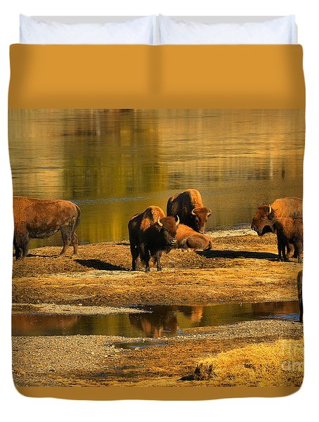 Duvet Cover featuring the photograph Preparing To Cross The Yellowstone River by Adam Jewell
