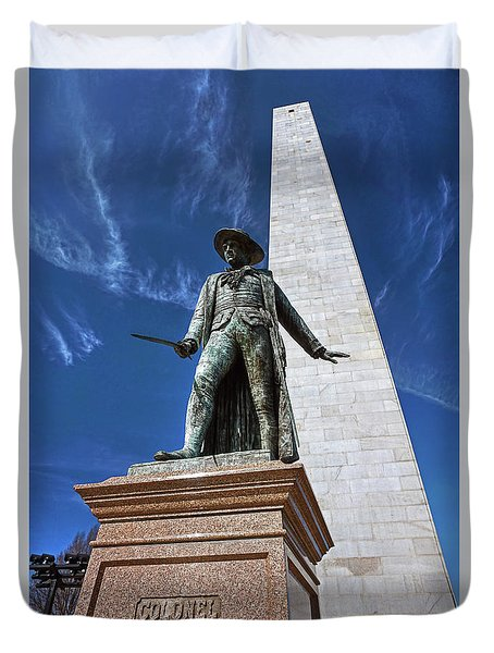 Duvet Cover featuring the photograph Prescott Statue On Bunker Hill by Wayne Marshall Chase