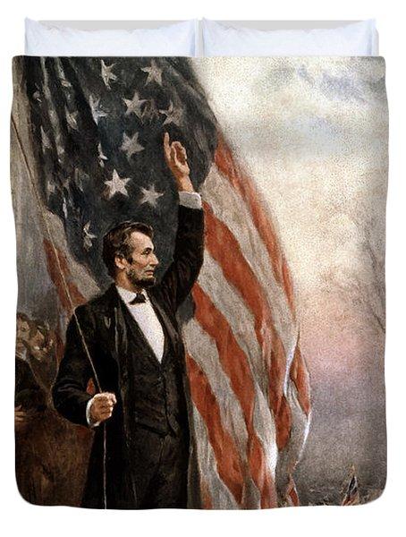 President Abraham Lincoln Giving A Speech Duvet Cover