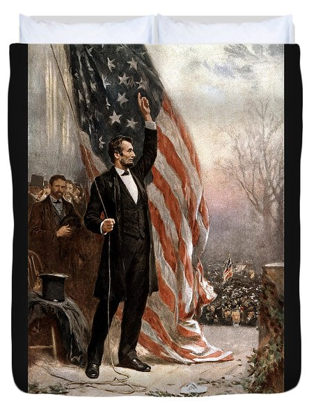 President Abraham Lincoln Giving A Speech Duvet Cover
