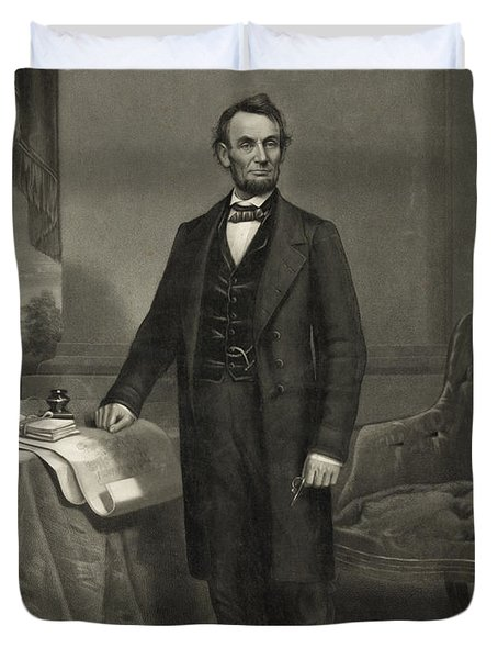 Duvet Cover featuring the photograph President Abraham Lincoln by International  Images