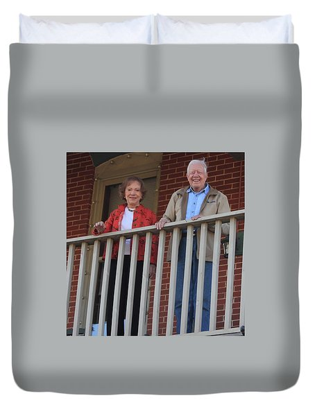 President And Mrs Carter On Plains Inn Balcony Duvet Cover