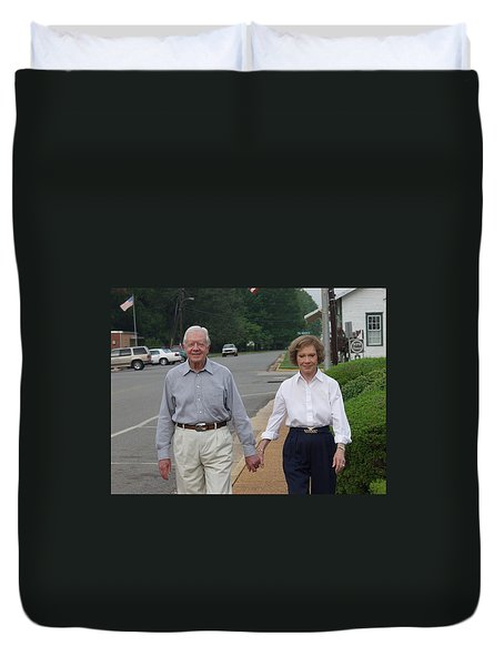 Duvet Cover featuring the photograph President And Mrs. Jimmy Carter by Jerry Battle