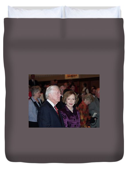 Duvet Cover featuring the photograph President And Mrs. Jimmy Carter Nobel Celebration by Jerry Battle