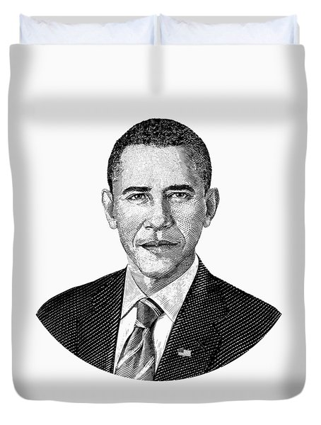 President Barack Obama Graphic Black And White Duvet Cover by War Is Hell Store