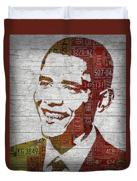 President Barack Obama Portrait United States License Plates Duvet Cover