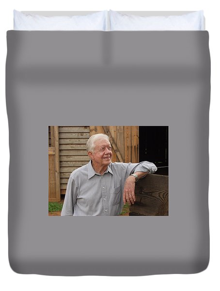 Duvet Cover featuring the photograph President Carter At His Boyhood Farm by Jerry Battle