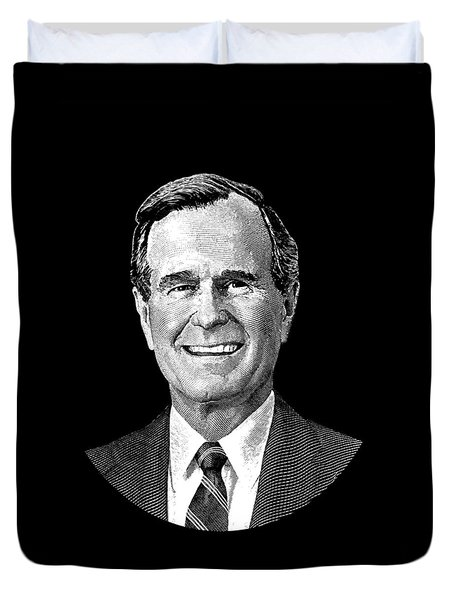 President George H. W. Bush Graphic Duvet Cover by War Is Hell Store