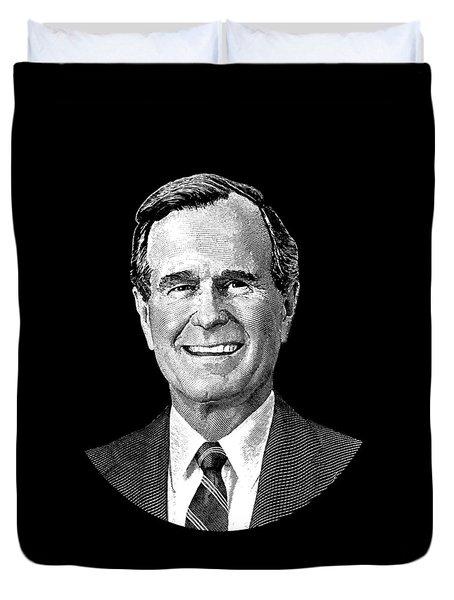 President George H. W. Bush Graphic Duvet Cover