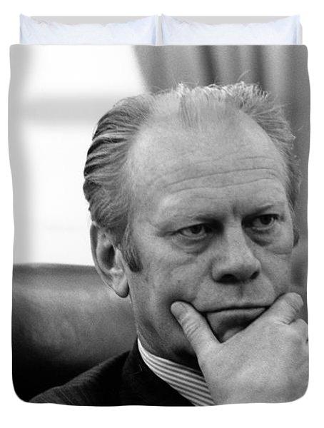 President Gerald Ford - Oval Office - 1975 Duvet Cover