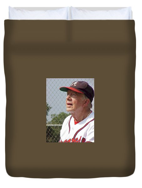 Duvet Cover featuring the photograph President Jimmy Carter - Atlanta Braves Jersey And Cap by Jerry Battle