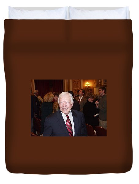 Duvet Cover featuring the photograph President Jimmy Carter - Nobel Peace Prize Celebration by Jerry Battle