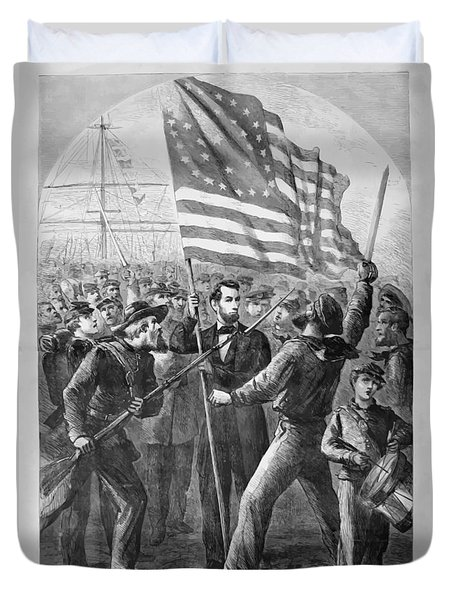President Lincoln Holding The American Flag Duvet Cover by War Is Hell Store