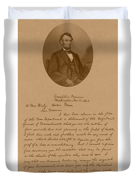 President Lincoln's Letter To Mrs. Bixby Duvet Cover