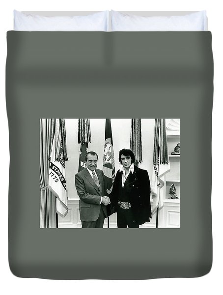 President Nixon And Elvis Presley In Oval Office Duvet Cover