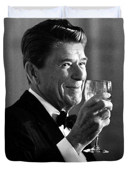 President Reagan Making A Toast Duvet Cover