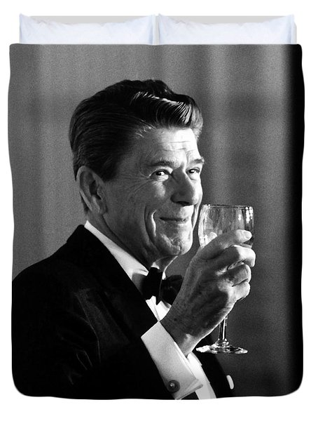 President Reagan Making A Toast Duvet Cover
