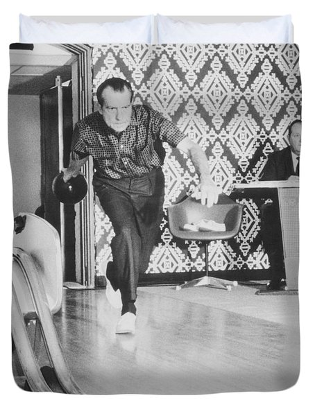 President Richard Nixon Bowling At The White House Duvet Cover