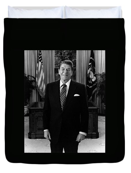 President Ronald Reagan In The Oval Office Duvet Cover by War Is Hell Store