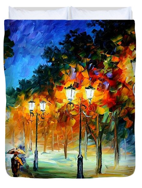 Prespective Of The Night Duvet Cover by Leonid Afremov