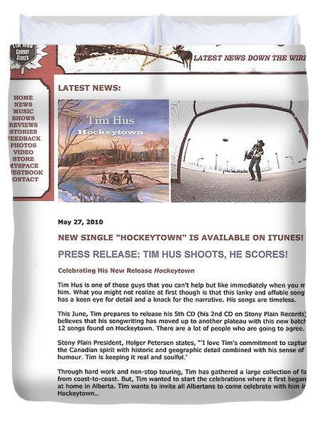 Press Release Carole Spandau Paints Cover Art For Hockeytown Cd By Tim Hus Duvet Cover by Carole Spandau