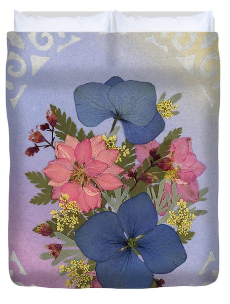 Pressed Flowers Arrangement With Pink Larkspur And Hydrangea Duvet Cover
