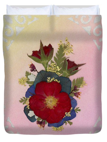 Pressed Flowers Arrangement With Red Roses Duvet Cover