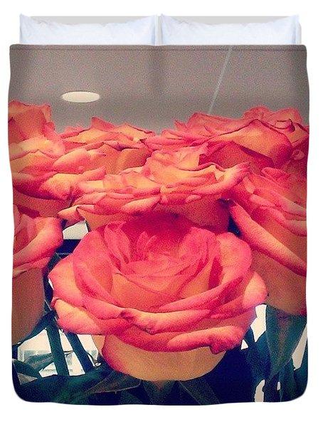 Pretty! 😊 #flowers #roses #orange Duvet Cover
